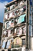 Building in ruins in Rambla del Raval. Barcelona. Catalonia. Spain