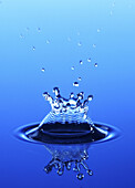 Blue, Close up, Close-up, Closeup, Color, Colour, Concept, Concepts, Detail, Details, Drop, Droplet, Droplets, Drops, Little, Mirror image, Mirror images, Motion, Movement, Moving, Nature, One, Reflection, Reflections, Ripple, Ripples, Small, Splash, Spla