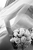 Adult, Adults, Anonymous, B&W, Black-and-White, Bouquet, Bouquets, Bride, Brides, Ceremonies, Ceremony, Contemporary, Daytime, Delicate, Detail, Details, Dress, Dressed up, Dresses, Elegance, Elegant, Female, Flower, Flowers, Hold, Holding, Human, Indoor,