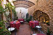 Outdoor Patio at Cafe es Trast, Banyalbufar, Mallorca, Balearic Islands, Spain