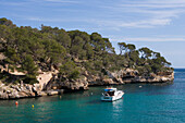 Pleasure Boat at Cala Figuera Cove, Cala Figuera, Mallorca, Balearic Islands, Spain