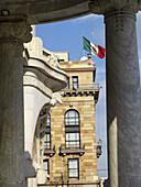 Architecture, Blue, Blue sky, Building, Buildings, Cities, City, Cityscape, Cityscapes, Color, Colour, Daytime, Detail, Details, Exterior, Facade, Façade, Facades, Façades, Flag, Flags, Latin America, Mexico, Mexico City, Mexico D F, Mexico DF, North Amer