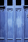 Blue, Catalonia, Catalunya, Cataluña, Closed, Color, Colour, Daytime, Detail, Details, Door, Doors, Europe, Exterior, Gerona province, Girona province, House, Houses, Outdoor, Outdoors, Outside, Shut, Spain, Wood, Wooden, M02-510481, agefotostock