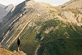 Hiker gazing at views from Parker Ridge, Banff National Park. Canada