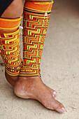 Kuna Indian Woman with leg band of beads. San Blas Islands, Panama.