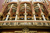 Architecture, Art, Art Nouveau, Art-Nouveau, Arts, Auditorium, Auditoriums, Barcelona, Building, Buildings, Catalonia, Catalunya, Cataluña, Cities, City, Color, Colour, Daytime, Europe, Exterior, Facade, Façade, Facades, Façades, From below, Galleries, Ga
