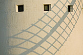 Abend, Altmodisch, Architektur, Aussen, charakteristisch, Detail, Details, Draussen, Europa, Farbe, Land, Länder, Ländlich, Mühle, Mühlen, Nahaufnahme, Nahaufnahmen, Plätze der Welt, Reisen, Schatten, Segel, Sonnig, Spanien, Tageszeit, Typisch, Windkraft,