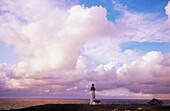 Sunset. Yaquina Head lighthouse. Oregon coast. USA.