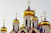 Cathedral of the Annunciation domes detail, Kremlin. Moscow. Russia