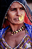Portrait of an older Indian woman from Rajasthan