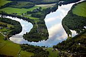 River in agricultural landscape, aerial view. Klarälven. Värmland. Sweden