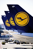 Lufthansa airplanes in the Frankfur Airport, Germany