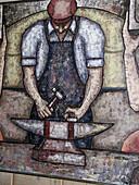Iron worker painting, folk art