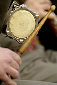 Tamborí is the instrument giving the rhythm in a sardana in a Cobla (music band). Sardanas in Crespià Fira de la Mel (Honey Fair). Pla de lEstany. Girona province. Spain.