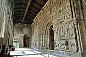 Main façade, Romanesque monastery of Santa María de Ripoll (12th century), Ripollès. Girona province, Catalonia, Spain