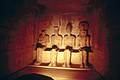 Statues in the Great Temple of Ramses II. Temple of Abu Simbel. Egypt