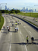Bike riders get the chance to use Chicagos Lake Shore drive during the Bike the Drive event. Photo taken at the overpass bridge on 39th st. Chicago, Illinois