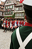 Army, Baden Wuerttemberg, Baden Württemberg, Band, Brass, Bretten, Carnival, Celebration, Color, Colour, Colourful, Costume, Culture, Dress, Europe, European, German, Germany, Historical, History, Military, Music, Parade, Period, Periodic, Soldier, Specta