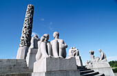 Wheel of Life, Gustav Vigelands monolith of writing bodies at Frogner Park. Oslo. Norway