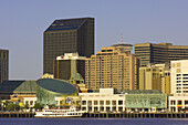 Looking across the Mississippi River to the skyline of New Orleans from Algiers, New Orleans, Louisiana, USA