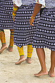 Womens native costumes with Mola embrodery blouses, skirts, bracelets and anklets, Kuna Indian cultural performance, Wichub Wala Island, San Blas Islands (Kuna Yala), Caribbean Sea, Panama