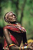 Masai people, shepherds and warriors in Kenya. Woman with necklaces. Masai. Kenya.