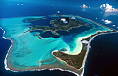 Bora-Bora and its lagoon, aerial view. Leeward Islands. French Polynesia.