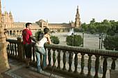 Tourists in plaza de España, Sevilla. Spain.