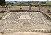 Roman mosaic at Italica. Sevilla province, Andalusia, Spain
