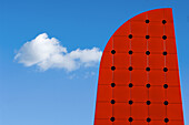 Abstract, Blue, Blue sky, Cloud, Clouds, Color, Colour, Concept, Concepts, Daytime, Detail, Details, Exterior, Geometry, Horizontal, Odd, Ohio, Outdoor, Outdoors, Outside, Red, Shape, Shapes, Skies, Sky, Strange, Toledo, N86-587213, agefotostock