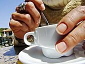 Taking coffee in the terrace from the restaurant Don Baco, La Canyada, Paterna, Comunidad Valenciana. Spain