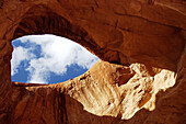 A hole in the rock in the Monument Valley perfectly shaped like an eye. Utah/Arizona, USA