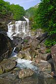 cascade in valley of Verzasca, Verzascatal, Ticino, Switzerland