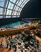 Pool with beach, Tropical Island Resort, artficial beach world, in former Cargolifter hall (Largest unsupported hall in the world: 360 x 210 x 107 m), in Krausnick, Lower Spreewald, Brandenburg, Germany
