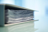 File with stack of paper, Close up, Business, Office