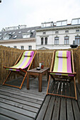 Deck chairs on a balcony, Home, Summer