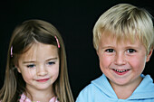 Boy and girl smiling, Sister and Brother smiling, Children, Upbringing, Family