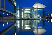 Paul-Löbe-Haus mit Spiegelung, Regierungsviertel, Berlin Mitte, Berlin, Deutschland, Europa