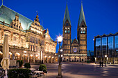 Town hall and Bremen Cathedral in the market square at night, Bremen, Germany
