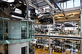 The transparent factory, automobile production plant owned by Volkswagen, modern factory designed to make the production line visible to the outside world. The luxury Phaeton automobile is built here. View into the production line, Dresden, Saxony, German