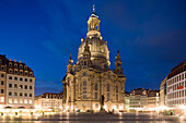 Dresdner Frauenkirche (Church of Our Lady) at night, Dresden, Saxony, Germany