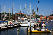 Sailing boats in harbor, Flensberg, Schleswig-Holstein, Germany