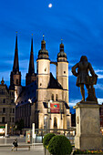 Market place with Handel monument and market church, Halle, Saxony-Anhalt, Germany