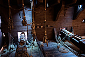 Interior view of a pirate's ship with cannons, Museum fuer Hamburgische Geschichte., Hamburg, Germany, Europe