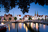 View over river Trave to Lubeck, Schleswig-Holstein, Germany