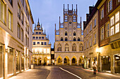 Gabled houses and gothic town hall at the Prinzipal Market in the evening, Muenster, North Rhine-Westphalia, Germany, Europe