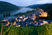 View over Bacharach with St. Peter's church and ruin Wernerskapelle, Bacharach, Rhineland-Palatinate, GErmany