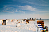 Beach chairs at beach, St. Peter-Ording, Schleswig-Holstein, Germany