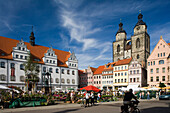 Market place with Luther monument, town hall and St. Mary's church, Lutherstadt Wittenberg, Saxony Anhalt, Germany
