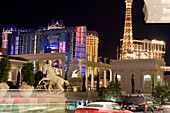 Las Vegas Boulevard, The Strip. Ballys, Planet Hollywood and Paris Hotel and Casino in the background , Las Vegas, Nevada, USA